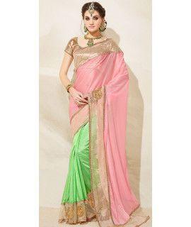 Elegant Pink And Green Satin Saree With Blouse.