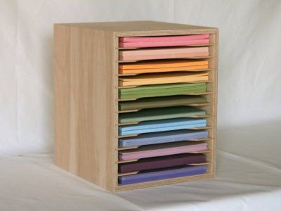 """The 8.5"""" x 11"""" paper holder has 12 slots that are 1"""" tall for storing your scrapbooking paper and cardstock."""