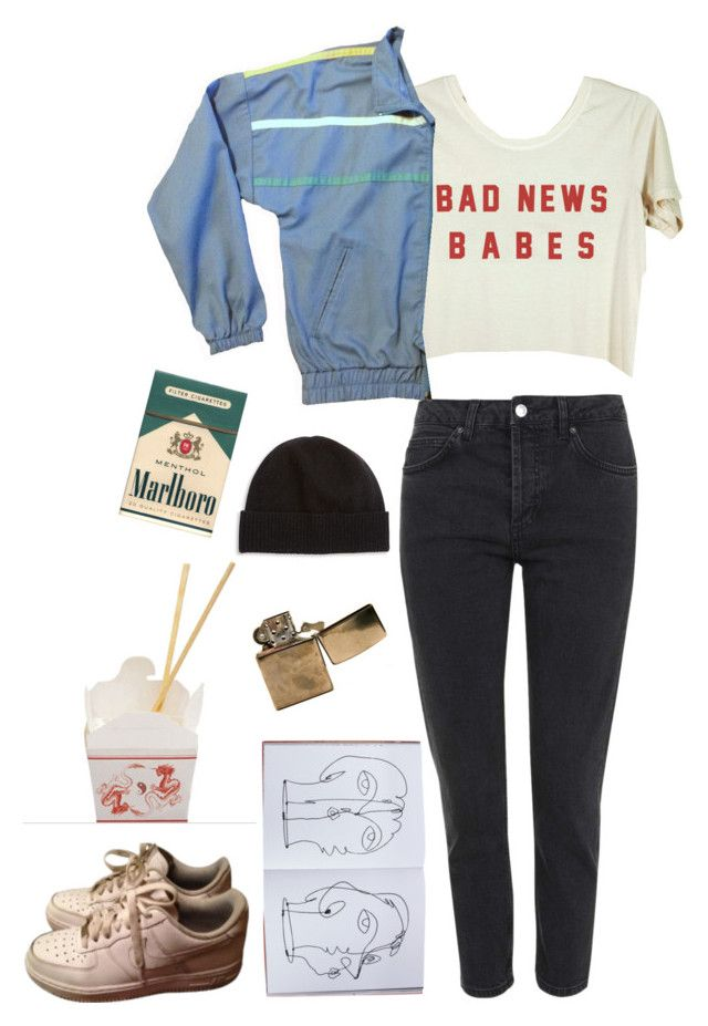 """bad news"" by unpleasantunicorn on Polyvore featuring Topshop, Assouline Publishing, NIKE and Portolano"