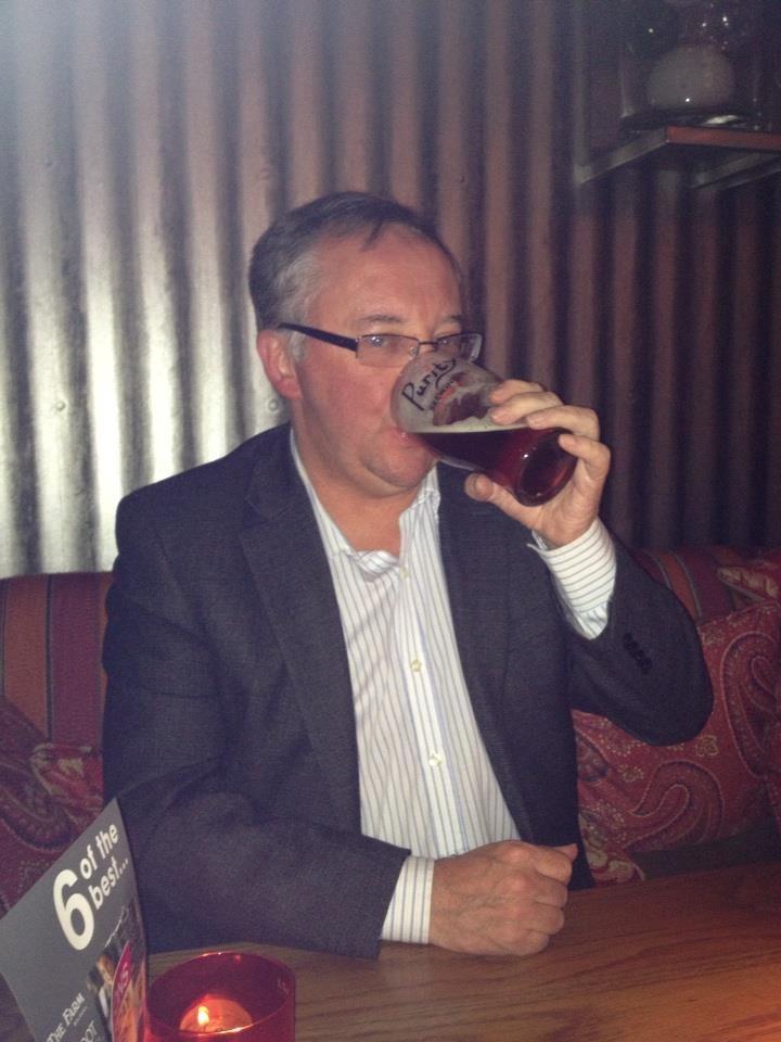 Ian drinking UBU at Mortons, Dickens Heath