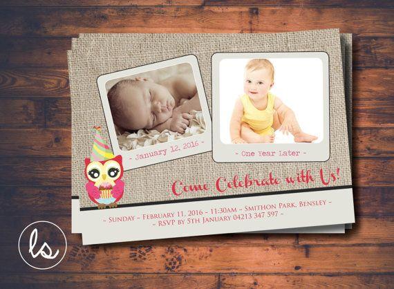 DIY PRINTABLE ~ Owl Birthday Invitation ~ First Birthday Invitation ~ Photo Invitation ~ Burlap Invitation ~ Printed Invitations