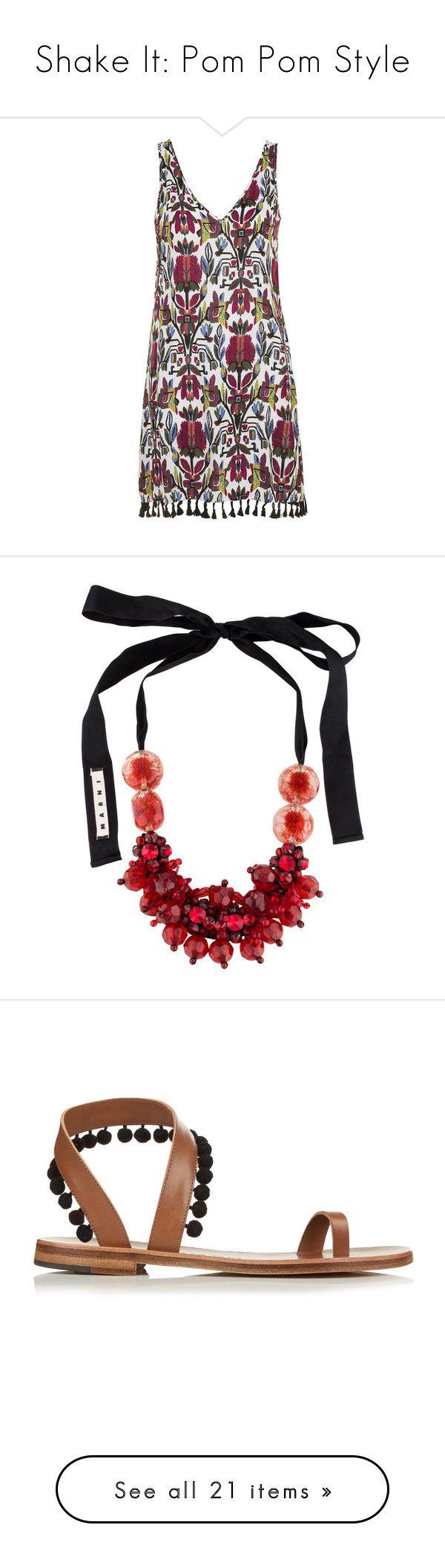 """Shake It: Pom Pom Style"" by polyvore-editorial ❤ liked on Polyvore featuring PomPoms, dresses, multi, pom pom dress, topshop, v neck dress, plunge dress, plunging v neck dress, jewelry and necklaces"