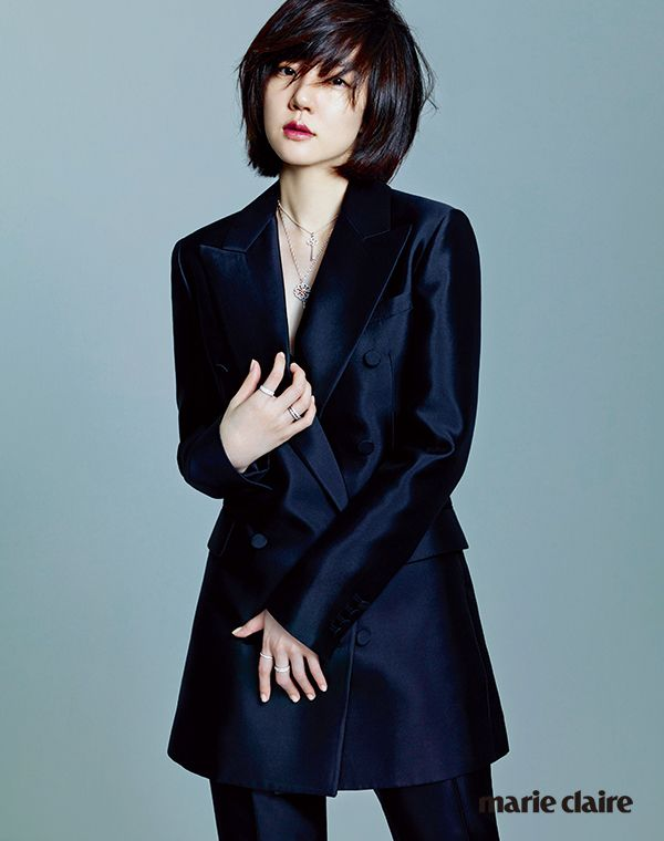 Im Soo Jung for Marie Claire Korea. Shantung, double breasted brazer and trousers (Valentino) and Tiffany & CO. jewelries.
