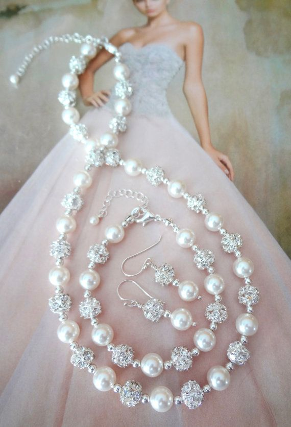 Pearl jewelry set  Swarovski pearl and by QueenMeJewelryLLC