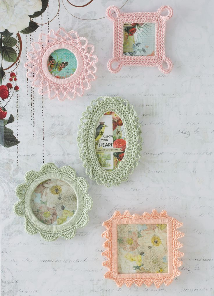 These little crocheted frames are a unique way to display special pictures Tutorial