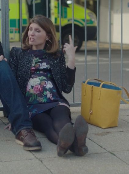 Sharon Horgan on Catastrophe: Season 1, episode 6: tweed black jacket with leather trim, floral dress with poppies, black tights