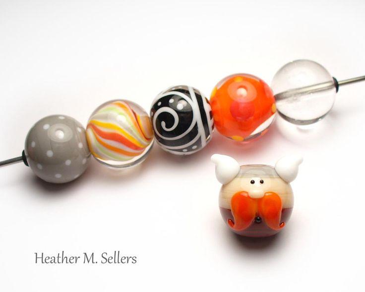 Wee Viking Dude, a lampwork glass bead set by #HeatherSellers #lampwork