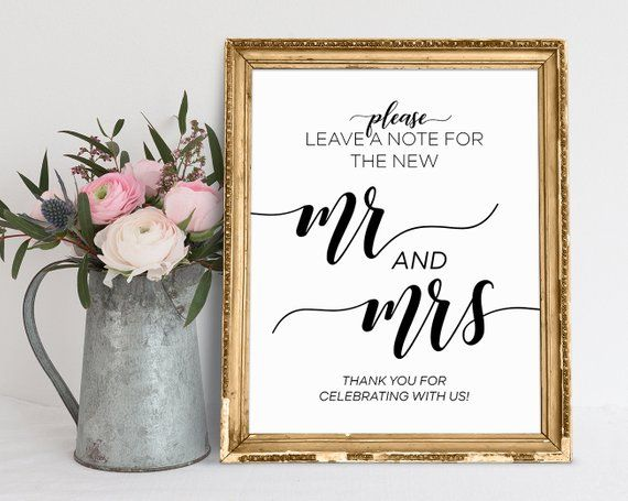 Leave A Note For The New Mr And Mrs Wedding Signs Reception Etsy Printable Wedding Sign Custom Wedding Signs Wedding Welcome Signs