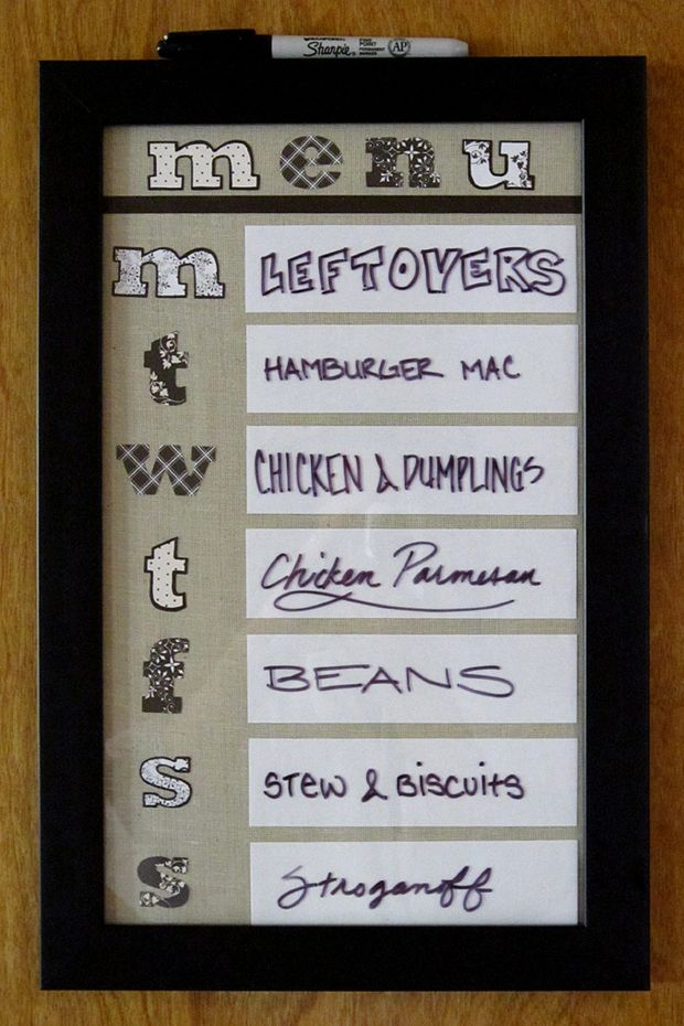 Plan your menu in a photo frame. We love this fun display for the family.