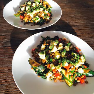 Spark My Pantry : Lentil feta and vegetable salad with lemon and herb dressing - perfect for BBQs or a meal on it's own.