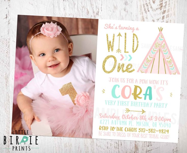 WILD ONE INVITATION Teepee First Birthday Invitation Girl Tribal Birthday Invitation Gold Pink Mint Invitation Arrow Teepee Girl Invite by littlebirdieprints on Etsy https://www.etsy.com/listing/450451206/wild-one-invitation-teepee-first