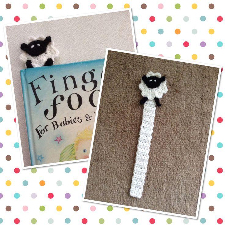 Crochet sheep bookmark