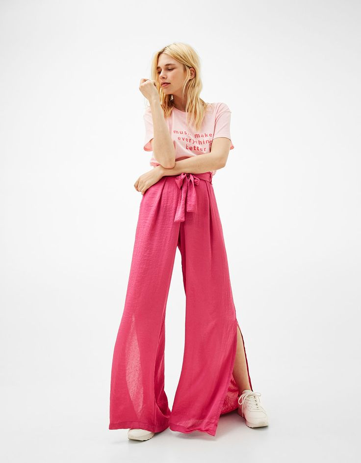 Palazzo sateen trousers with belt - Trousers - Bershka Sweden