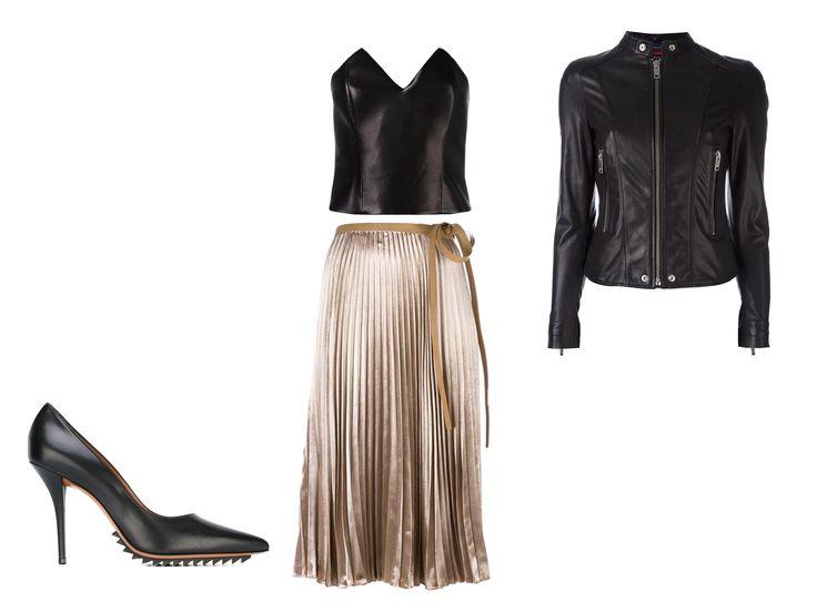 Der nudefarbene Plisseerock im Metallic-Look von Valentino überzeugt in unerwarteter Kombi: Schwarzes Ledertop von Saint Laurent mit Herzausschnitt, auffällige Pumps von Givenchy sowie Biker-Lederjacke von Diesel.