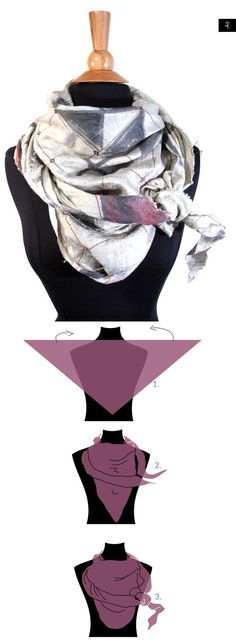 How to tie a triangle scarf? [1] place the triangle #scarf flat on your chest and push the other two corners at the back [2] bring the two corners back to front and on top of the scarf [3] tie a knot on the side and tuck in the hanging corner of the scarf, fluff the scarf. #Rannka