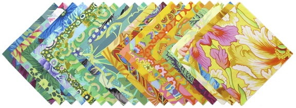 """Stitchin Post exclusive- Kaffe Fassett charm pack Green/Yellow  40- 5"""" squares (2 each of 20 different prints)  http://www.stitchinpost.com/fabricpacks.html#"""