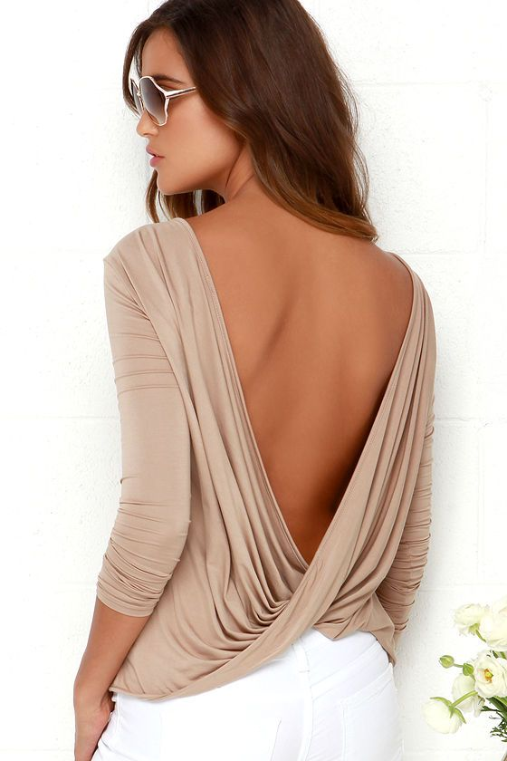Simple and sexy combine to form one fabulous basic: the Walk Twist Way Light Brown Long Sleeve Top! This stretchy jersey knit top has a straight-cut bodice, long sleeves, and a rounded neckline with a draping accent that loops below the open back.
