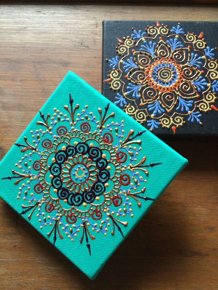 Mandalas. Acrylic on canvasback By Henna on Hudson
