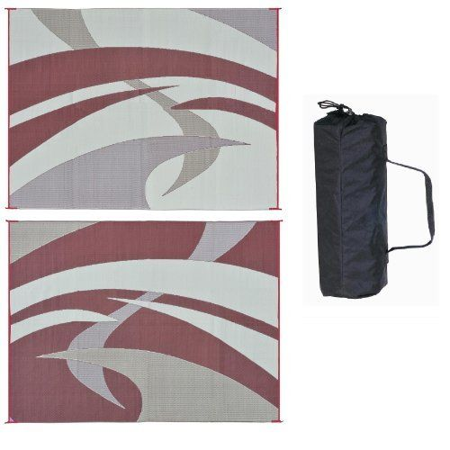 Reversible Mat 159125 Burgundy Swirl Pattern Mat 9'x12' by Reversible Mats. $54.95. UV protection against sun exposure. 100% virgin polypropylene material makes a durable mat. Light weight and can be folded into a very compact size for easy storage. Comes with carry bag. Breathable material does not hurt grass; Easy clean, just spray with water or sweep.. Reversible mats can be used for your RV patio, in the garden, on the beach, perfect for placing under pets exercise pens an...