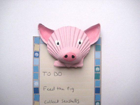 Pig magnet. Seashell pig magnet. Beach nautical by Lorishellart