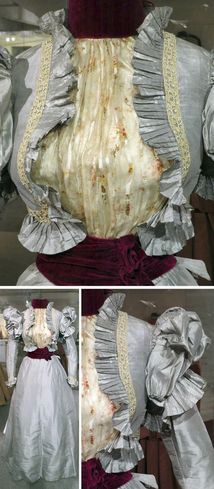 "From the Moscow exhibit ""Fashion as the Mirror of History,"" a dress of silk rep or silk taffeta, crimson velvet trim, silk, and machine lace, Russia, 1898. From a Russian discussion forum, posted by someone identified as Lena GM. Thank you for the gorgeous pics, Lena!"