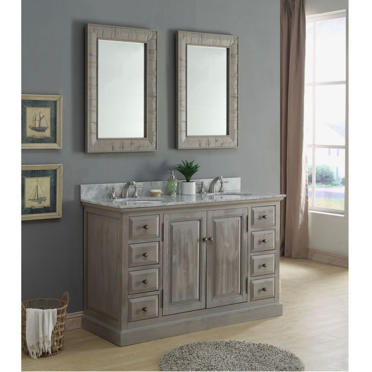 Infurniture Rustic Style 60 inch Double Sink Carrera White Marble Top Bathroom Vanity with Matching Dual Wall Mirrors (Carrera White Marble Top, no faucet), Size Double Vanities