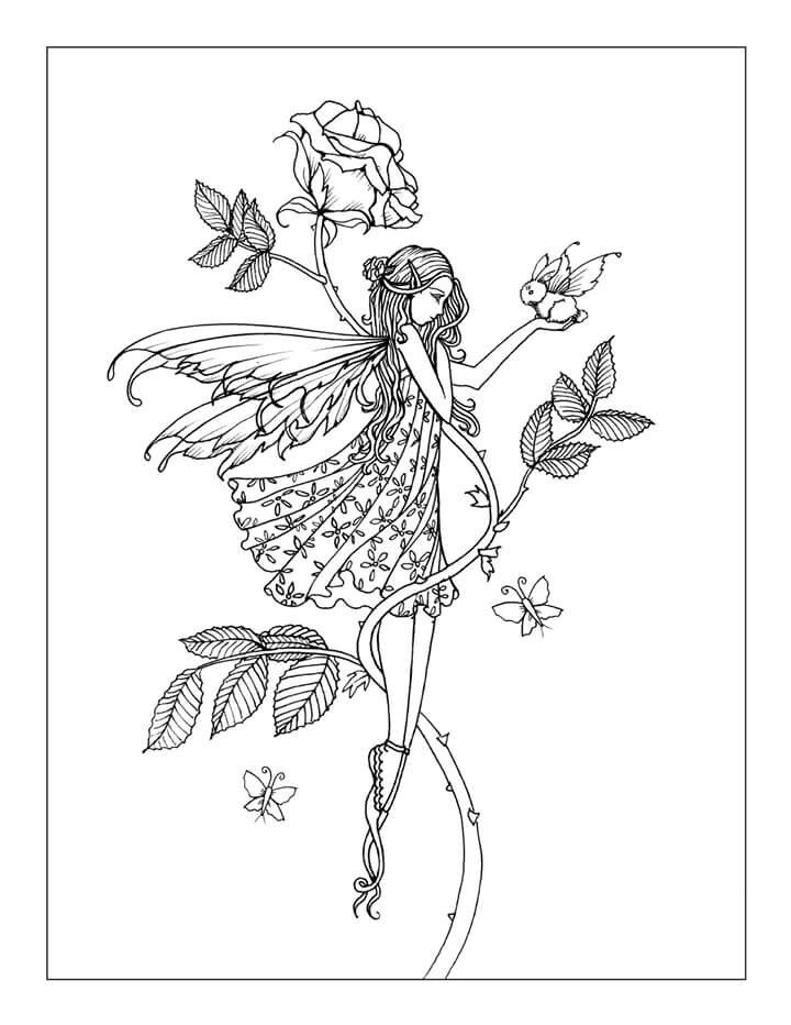 Free Rose Fairy with Tiny Winged Bunny free coloring page by Molly Harrison