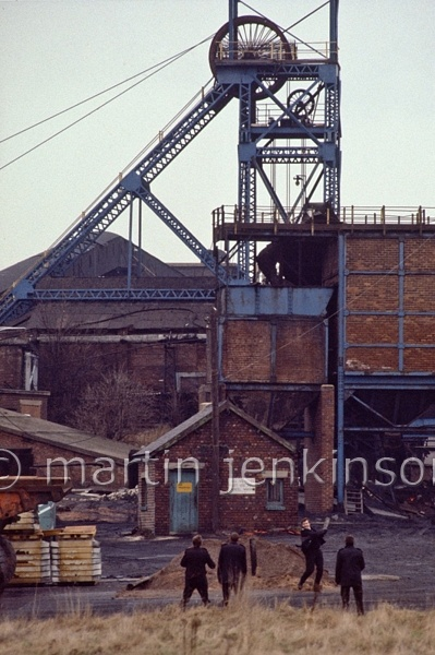 Police *playing cricket* during the strike at Dodworth Colliery, 1984.