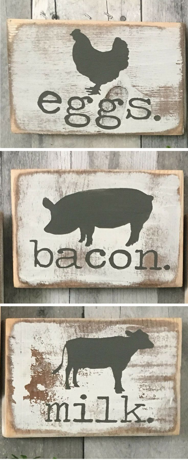 SET of 3 signs Farmhouse Kitchen Signs! decor. Farmhouse animals, Cow, pig, chicken wall art, Farm decor, Farmhouse decor, Rustic kitchen decor, Rustic dining room, farmhouse home decor #ad