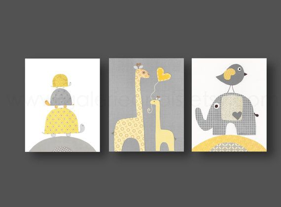 Yellow gray - elephant giraffe bird turtle Nursery art print - baby nursery decor - nursery print - Kids art Set of three prints