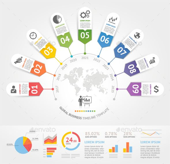 Business Timeline Infographics Template PSD, Vector EPS, AI Illustrator