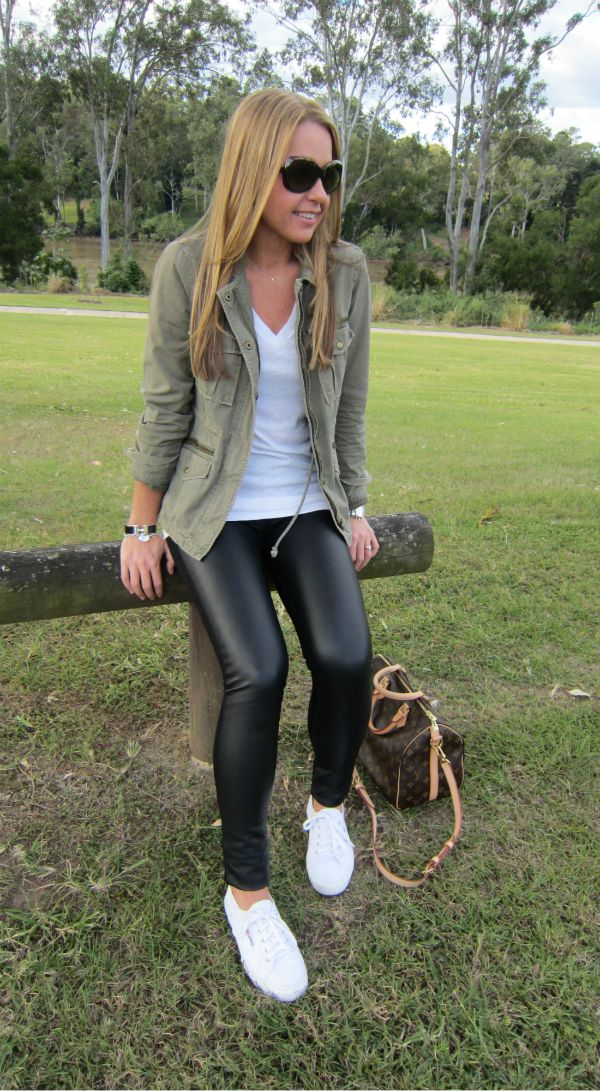 club monaco tasha leather leggings + jcrew khaki field jacket + superga cotu sneakers