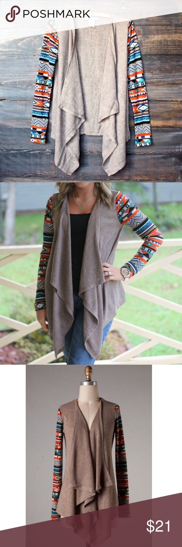 Flying Tomato Mocha Aztec Cardigan Sz Small Flying Tomato Mocha Aztec Cardigan. This is in like new condition!! Perfectly soft and sooo comfy.  (709) Flying Tomato Sweaters Cardigans