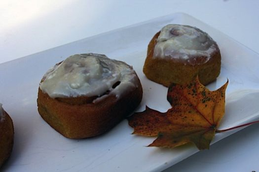 Low-Fat Pumpkin Cinnamon Buns with Cream Cheese Icing