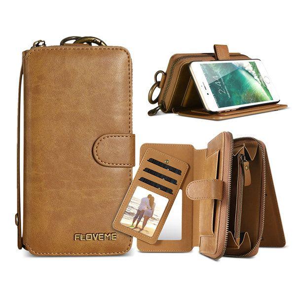 Floveme Magnetic Detachable Zipper Wallet Bracket Case For iPhone 7 Plus…
