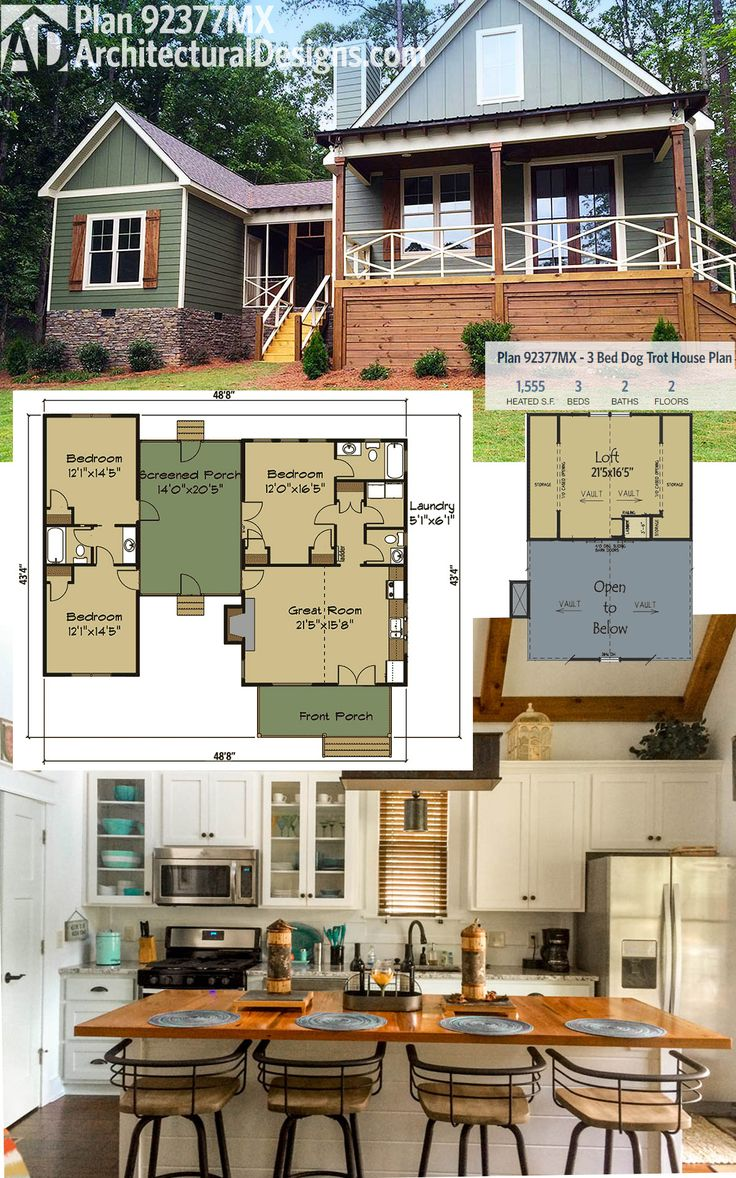 Architectural Designs Dog Trot House Plan 92377MX Gives You 3 Beds Plus A  Sleeping Loft Overlooking
