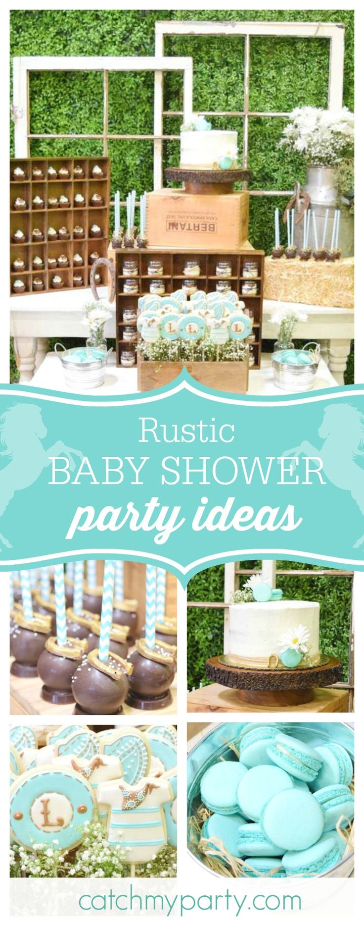 Don't miss this adorable rustic baby shower. The cake pops decorated with horse shoes are fantastic!! See more party ideas and share yours at CatchMyParty.com