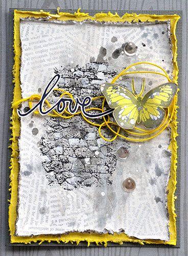 Card by Belinda Spencer using Darkroom Door Torn Text Background Stamp, Stone Texture Stamp, Torn Text Background Stamp, Hearts and Wings Rubber Stamp Sets. http://www.darkroomdoor.com/background-stamps/background-stamp-torn-text