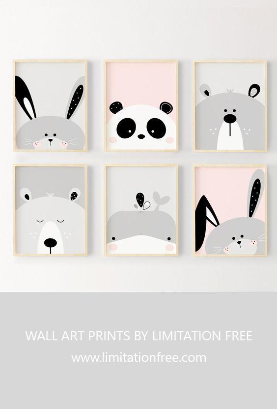 Kinderzimmer Kunst, niedliche Tier Wandkunst Drucke für Kinderzimmer oder Kinderzimmer, Kinder Wandkunst