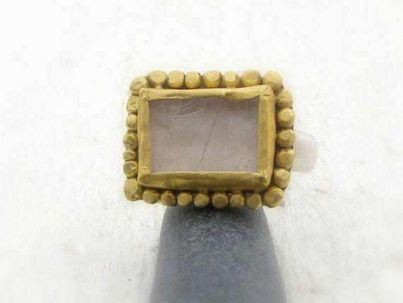 Rectangle Gold Ring  Rought Rose  Quartz  24k Gold Ring   by Omiya