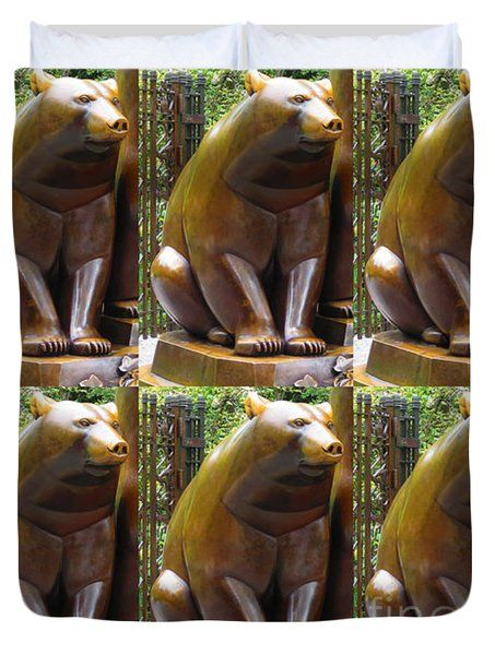 Bronze Statue Sculpture of Bear Clapping FineArt Photography from NewYork Museum USA FineArtAmerica Duvet Cover by NAVIN JOSHI