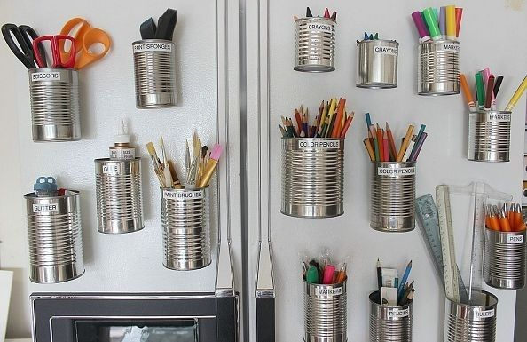 Tuck Art Supplies into Salvaged Tin Cans. | Community Post: 19 Insanely Clever Organizing Hacks