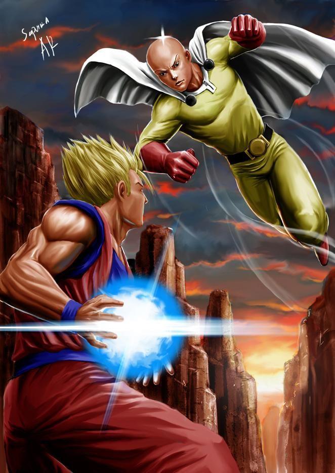 Saitama Vs Goku By Arivesaputra On Deviantart One Punch Man Anime One Punch Man Goku