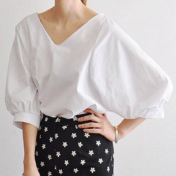 Blouse tunic shirt cotton blouse women day dress day tunic long blouse Puff sleeve white shirt Embroidery optional service