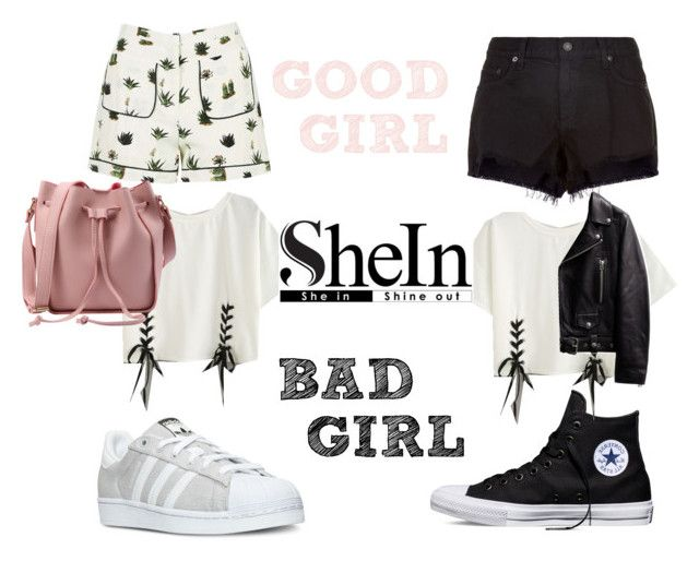 """Good vs Bad. Who wins?"" by teodorapetre on Polyvore featuring Converse, Topshop, adidas, rag & bone, Pink, black, badgirl and GoodGirl"