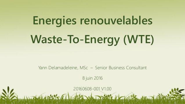 Énergies renouvelables - Valorisation des déchets (Waste To Energy - …