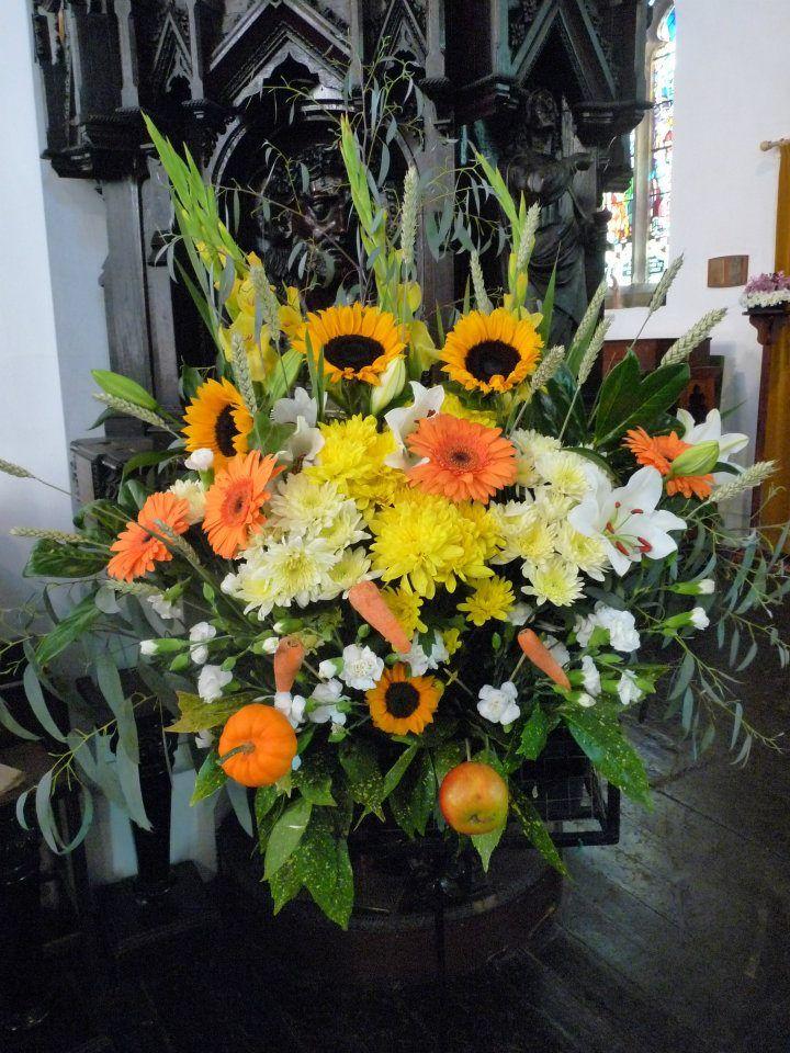 Harvest Festival Flower Arrangement In Church With