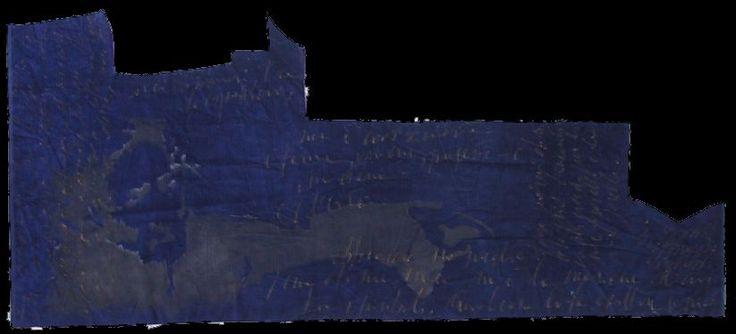 """autore: Francesca Scammacca - """"C'è questo in me"""" - candeggina su velluto - cm 153x67 circa - 2001"""