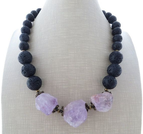 Rustic necklace raw amethyst necklace chunky by Sofiasbijoux                                                                                                                                                                                 More