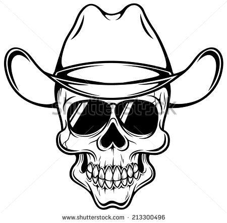 Vector illustration of Cowboy skull - Outline - stock vector